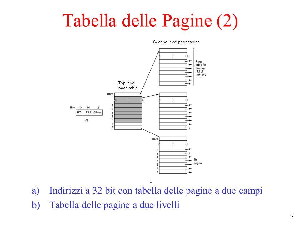 5 a)Indirizzi a 32 bit con tabella delle pagine a due campi b)Tabella delle pagine a due livelli Second-level page tables Top-level page table Tabella delle Pagine (2)