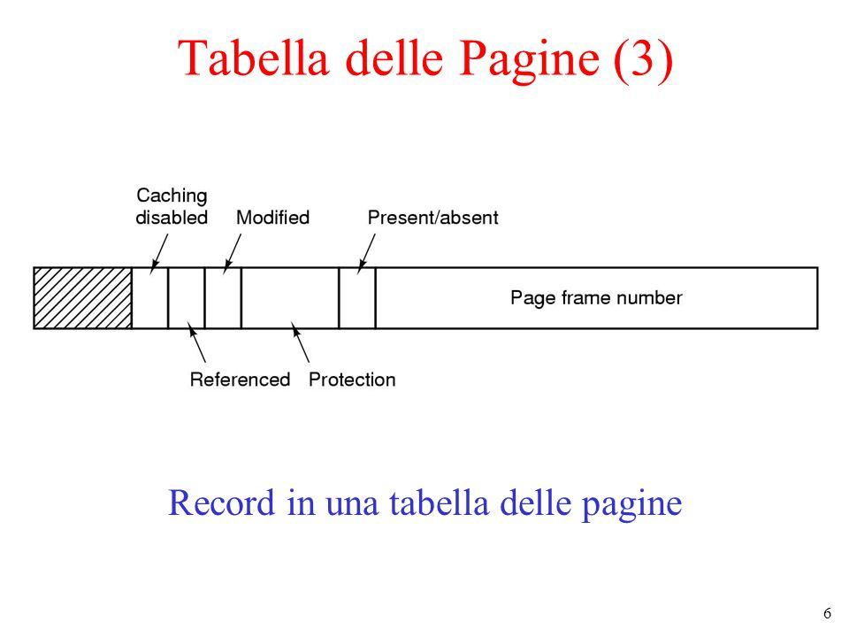 6 Record in una tabella delle pagine Tabella delle Pagine (3)