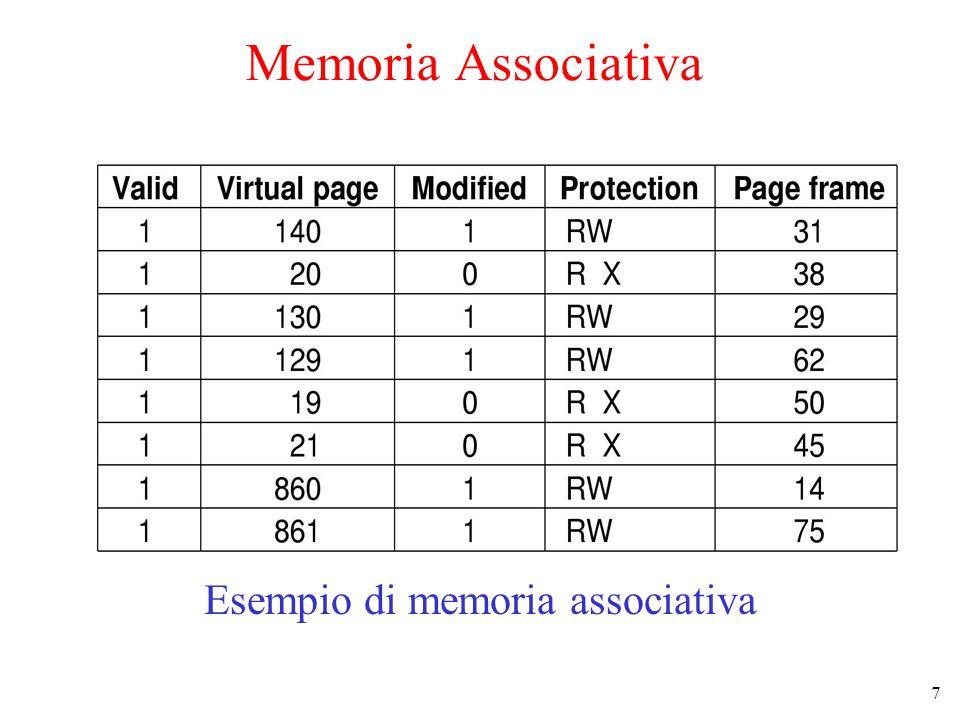 7 Memoria Associativa Esempio di memoria associativa