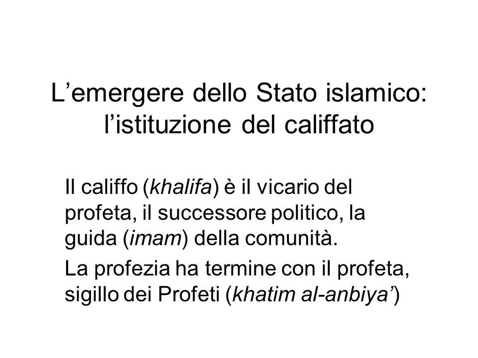 L'emergere dello Stato islamico: l'istituzione del califfato Il califfo (khalifa) è il vicario del profeta, il successore politico, la guida (imam) de
