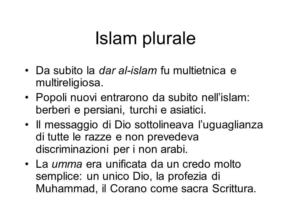 Islam plurale Da subito la dar al-islam fu multietnica e multireligiosa. Popoli nuovi entrarono da subito nell'islam: berberi e persiani, turchi e asi