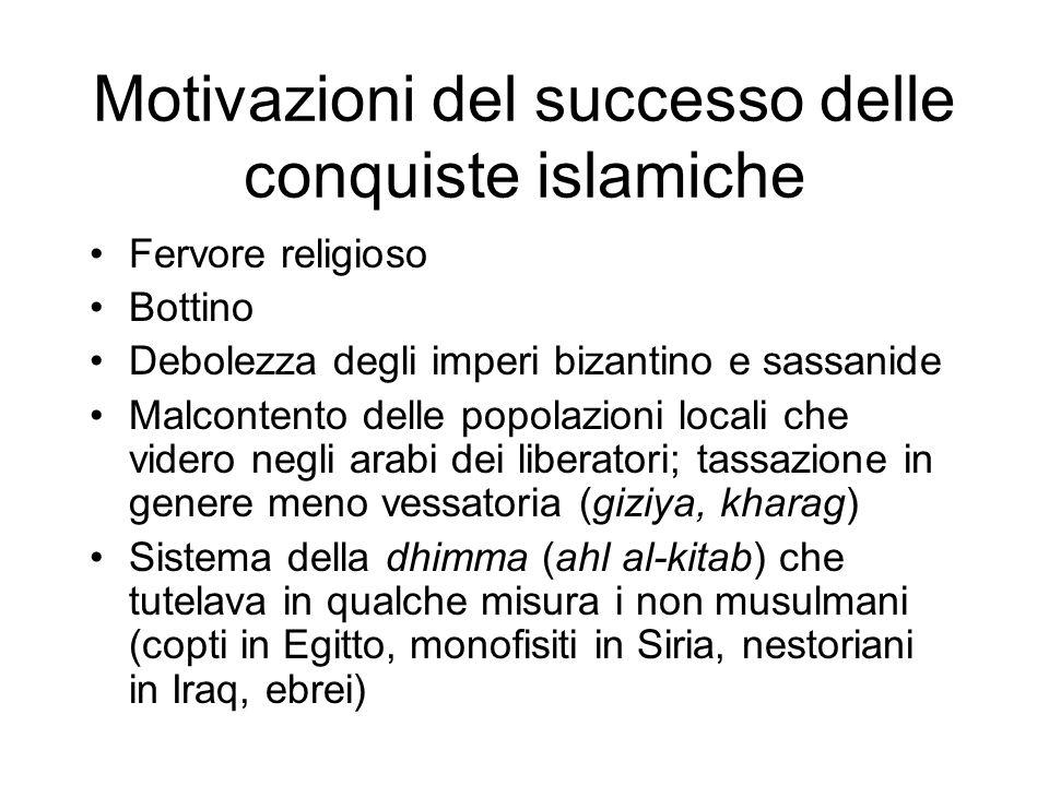 Motivazioni del successo delle conquiste islamiche Fervore religioso Bottino Debolezza degli imperi bizantino e sassanide Malcontento delle popolazion