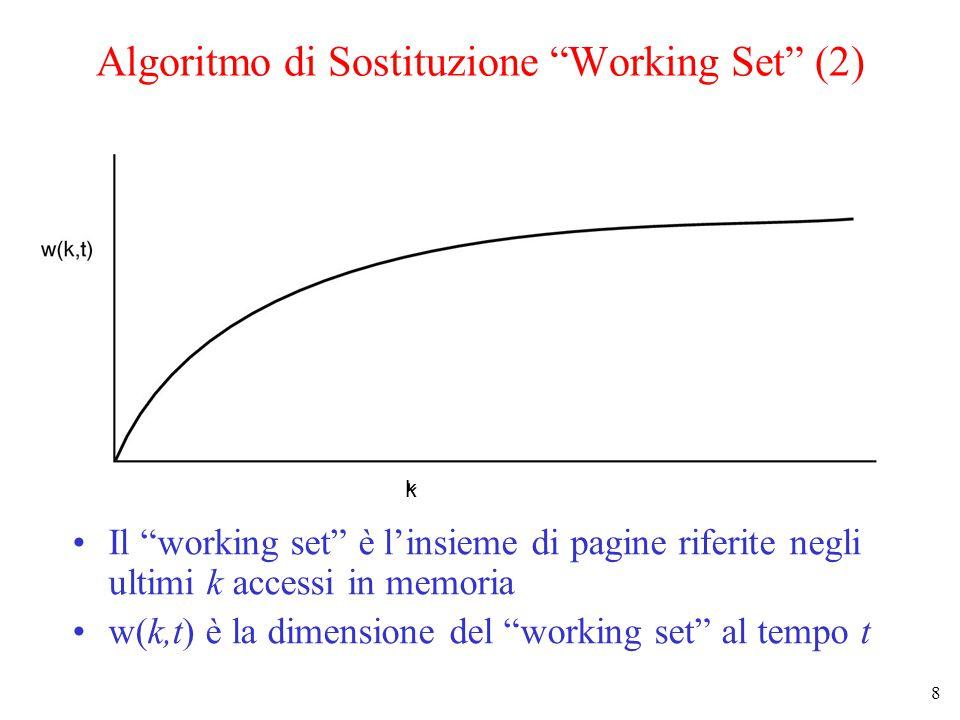 8 Algoritmo di Sostituzione Working Set (2) Il working set è l'insieme di pagine riferite negli ultimi k accessi in memoria w(k,t) è la dimensione del working set al tempo t k