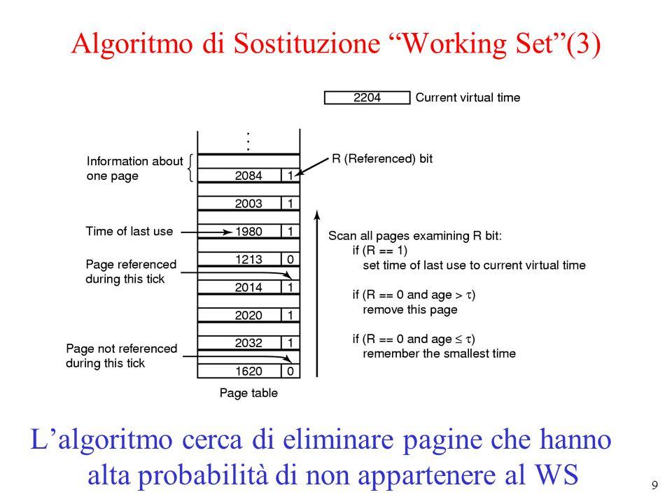 9 Algoritmo di Sostituzione Working Set (3) L'algoritmo cerca di eliminare pagine che hanno alta probabilità di non appartenere al WS
