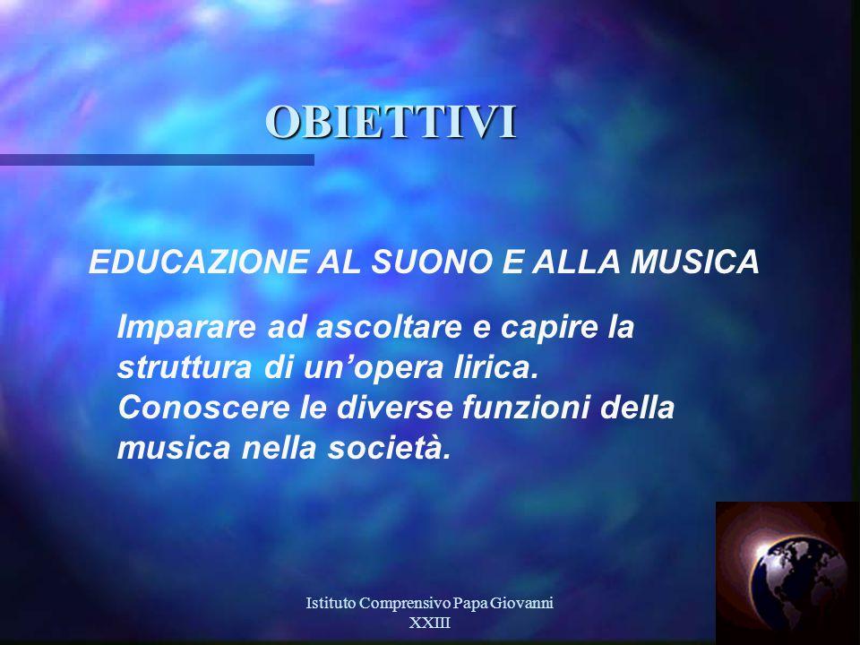 Istituto Comprensivo Papa Giovanni XXIII 10 OBIETTIVI EDUCAZIONE AL SUONO E ALLA MUSICA Imparare ad ascoltare e capire la struttura di un'opera lirica.