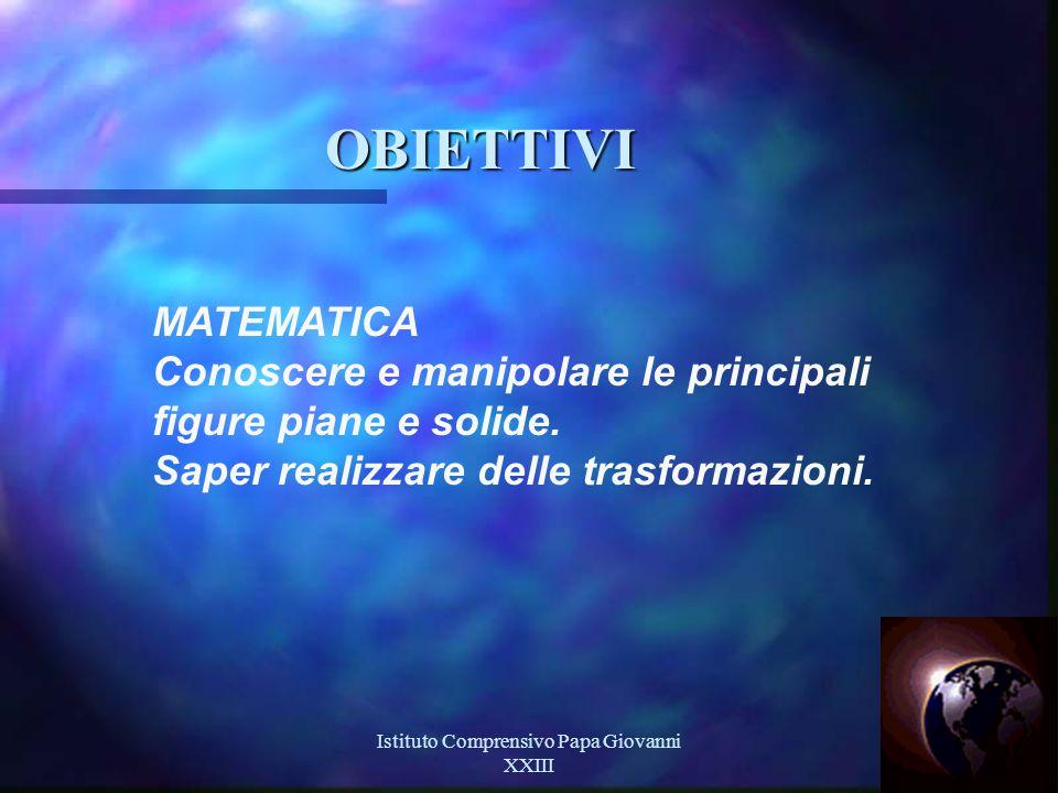 Istituto Comprensivo Papa Giovanni XXIII 15 OBIETTIVI MATEMATICA Conoscere e manipolare le principali figure piane e solide.