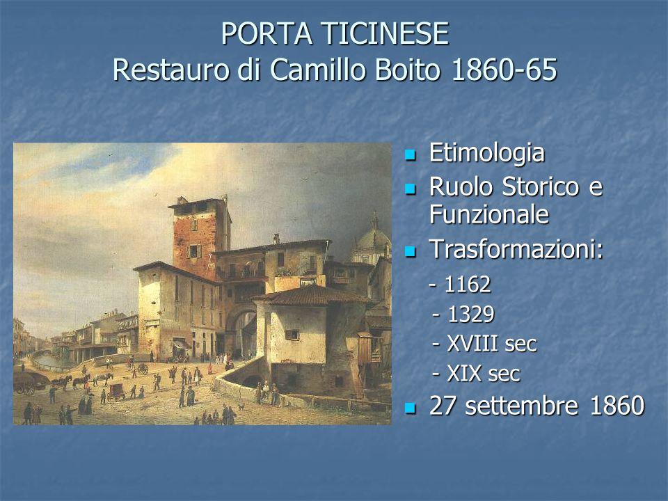 PORTA TICINESE Restauro di Camillo Boito 1860-65 Etimologia Etimologia Ruolo Storico e Funzionale Ruolo Storico e Funzionale Trasformazioni: Trasforma