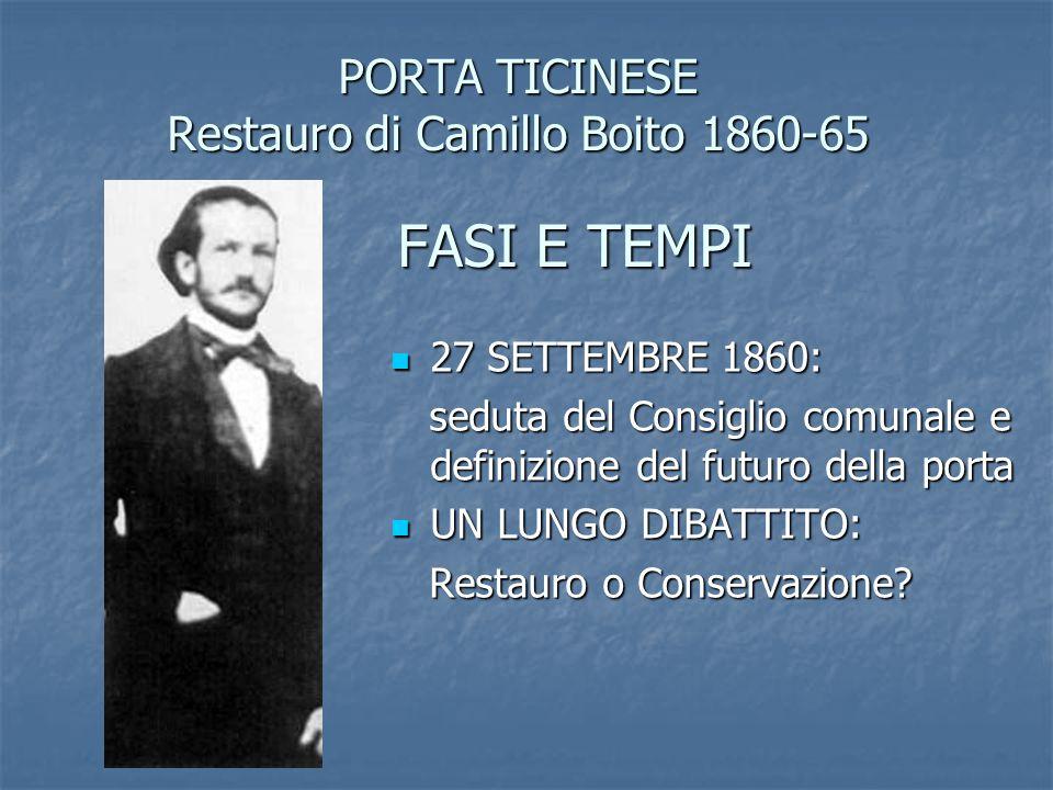 PORTA TICINESE Restauro di Camillo Boito 1860-65 FASI E TEMPI 27 SETTEMBRE 1860: 27 SETTEMBRE 1860: seduta del Consiglio comunale e definizione del fu