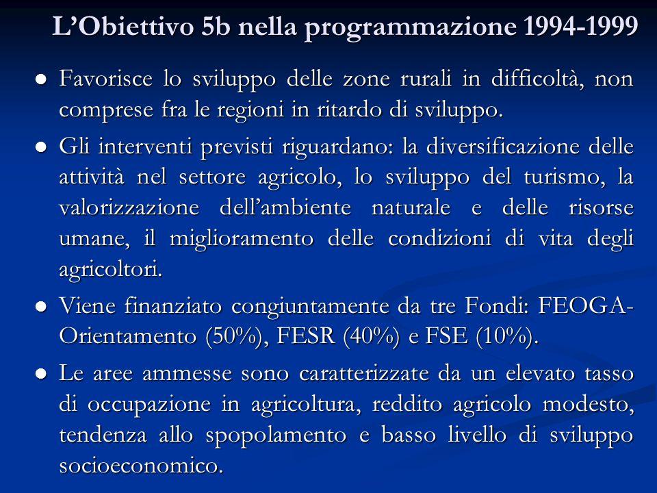 L'Obiettivo 5b nella programmazione 1994-1999 Favorisce lo sviluppo delle zone rurali in difficoltà, non comprese fra le regioni in ritardo di sviluppo.