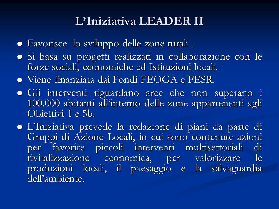 L'Iniziativa LEADER II Favorisce lo sviluppo delle zone rurali.