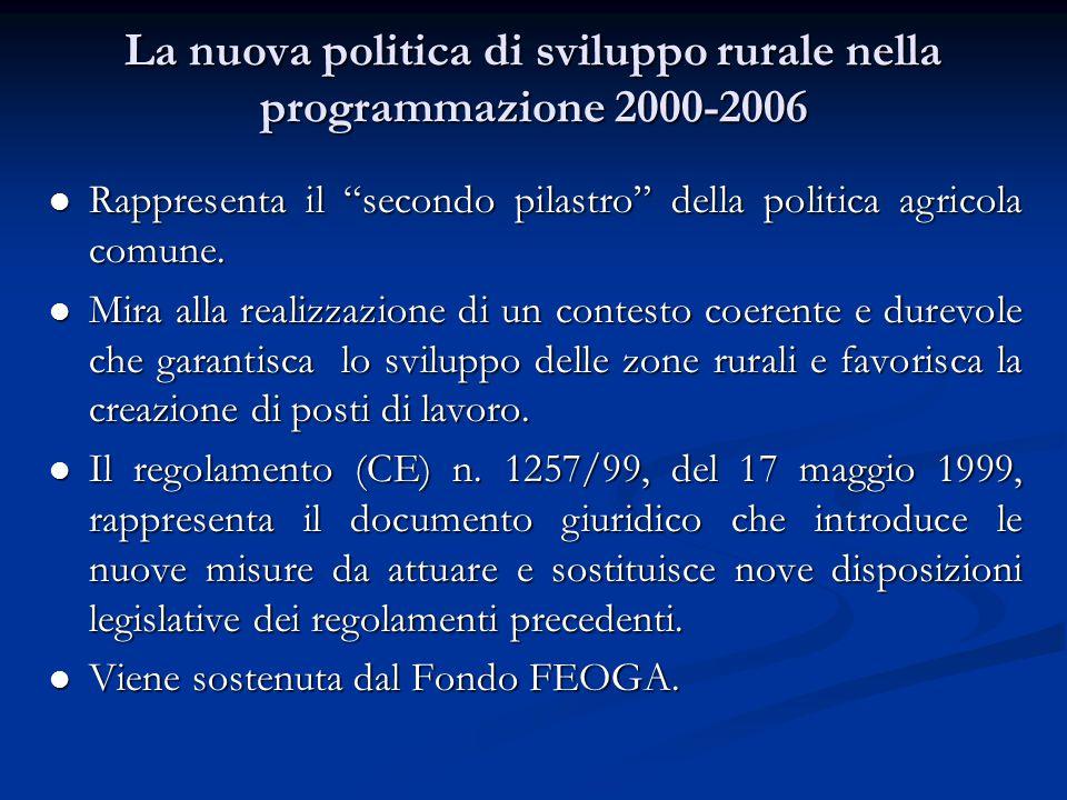 La nuova politica di sviluppo rurale nella programmazione 2000-2006 Rappresenta il secondo pilastro della politica agricola comune.