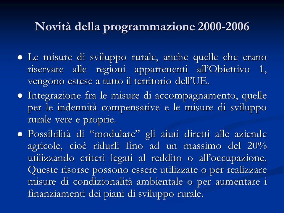 Novità della programmazione 2000-2006 Le misure di sviluppo rurale, anche quelle che erano riservate alle regioni appartenenti all'Obiettivo 1, vengono estese a tutto il territorio dell'UE.