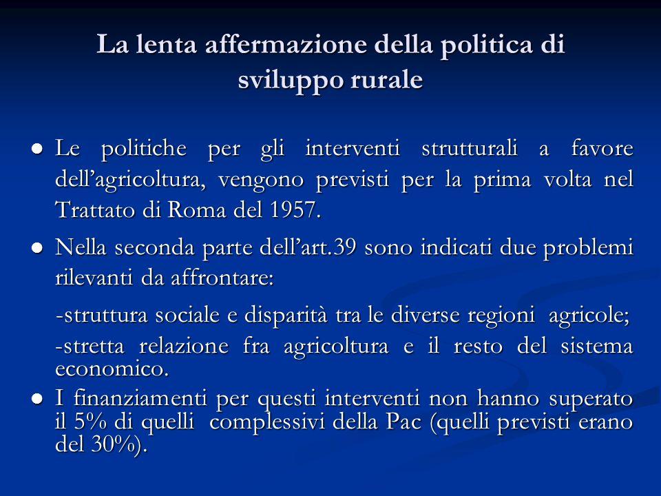 La lenta affermazione della politica di sviluppo rurale Le politiche per gli interventi strutturali a favore dell'agricoltura, vengono previsti per la prima volta nel Trattato di Roma del 1957.