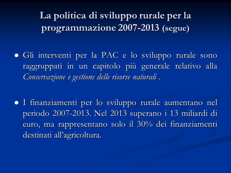 La politica di sviluppo rurale per la programmazione 2007-2013 (segue) Gli interventi per la PAC e lo sviluppo rurale sono raggruppati in un capitolo più generale relativo alla Conservazione e gestione delle risorse naturali.