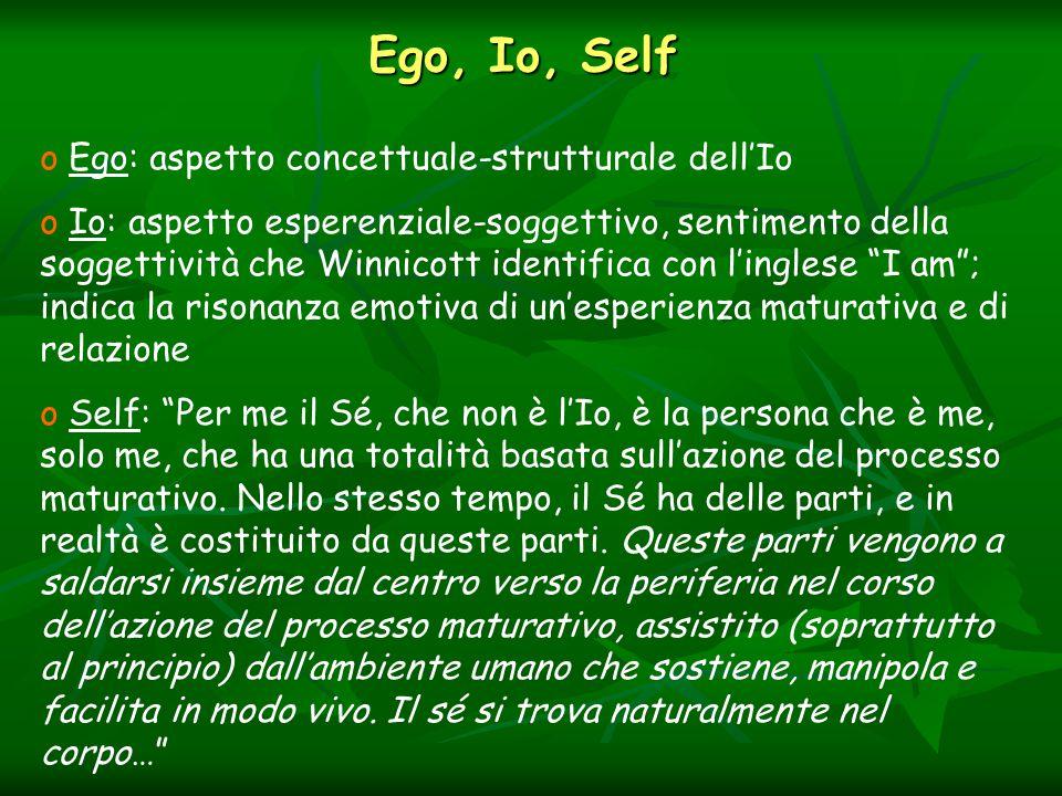 Ego, Io, Self o Ego: aspetto concettuale-strutturale dell'Io o Io: aspetto esperenziale-soggettivo, sentimento della soggettività che Winnicott identifica con l'inglese I am ; indica la risonanza emotiva di un'esperienza maturativa e di relazione o Self: Per me il Sé, che non è l'Io, è la persona che è me, solo me, che ha una totalità basata sull'azione del processo maturativo.
