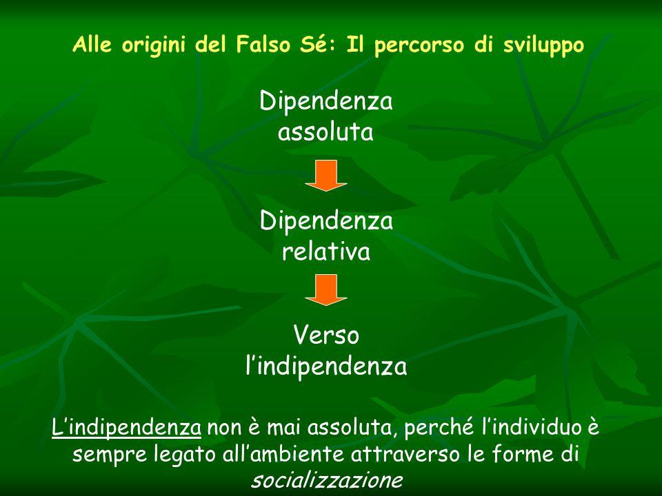 Alle origini del Falso Sé: Il percorso di sviluppo Dipendenza assoluta Dipendenza relativa Verso l'indipendenza L'indipendenza non è mai assoluta, perché l'individuo è sempre legato all'ambiente attraverso le forme di socializzazione