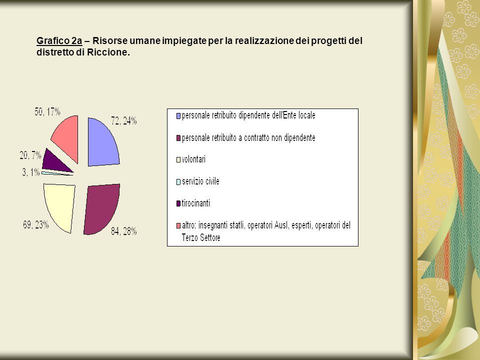 Grafico 2a – Risorse umane impiegate per la realizzazione dei progetti del distretto di Riccione.