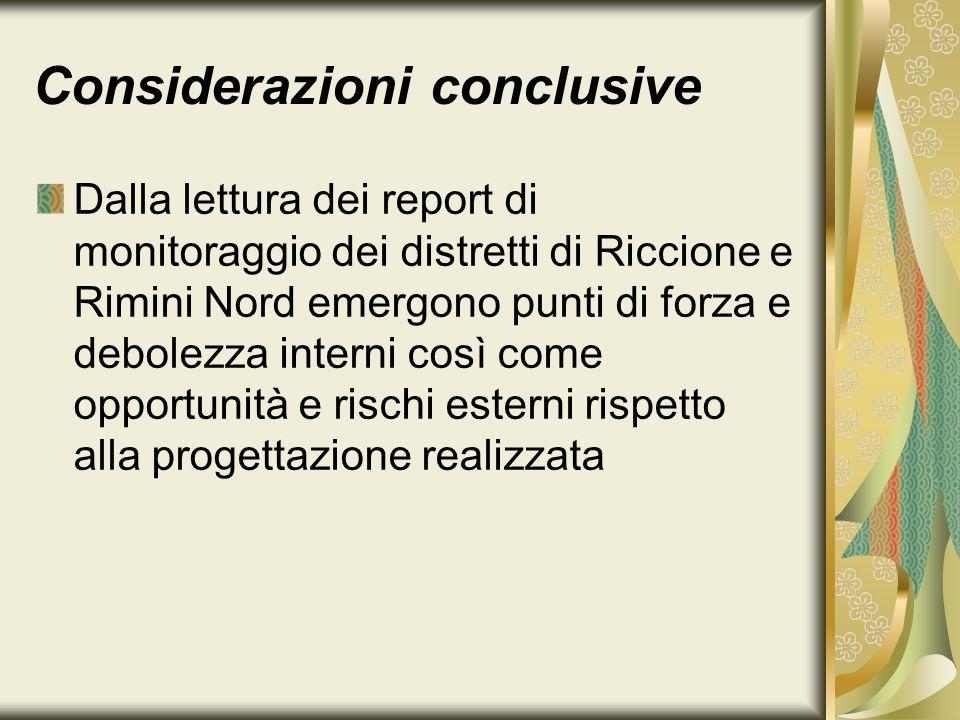 Considerazioni conclusive Dalla lettura dei report di monitoraggio dei distretti di Riccione e Rimini Nord emergono punti di forza e debolezza interni così come opportunità e rischi esterni rispetto alla progettazione realizzata