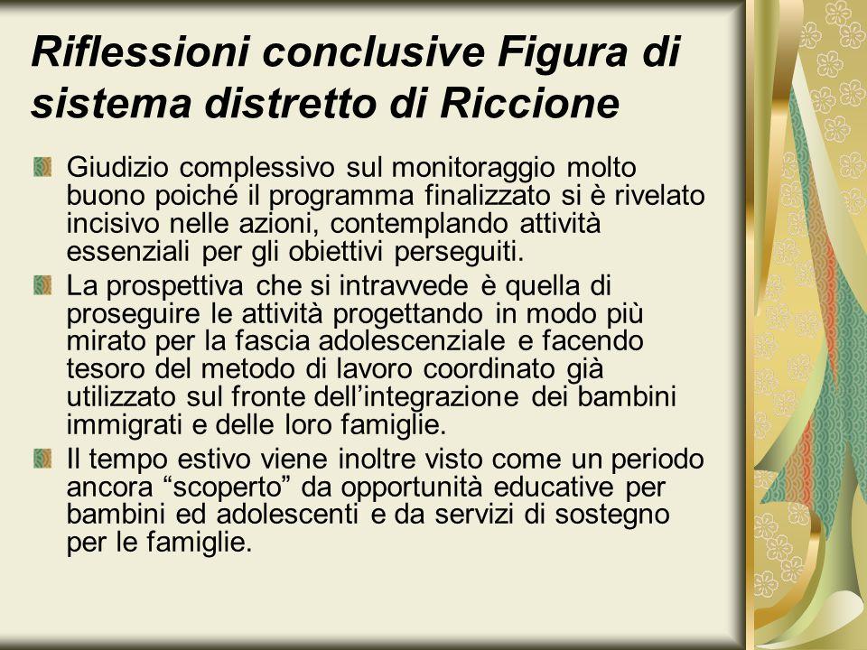 Riflessioni conclusive Figura di sistema distretto di Riccione Giudizio complessivo sul monitoraggio molto buono poiché il programma finalizzato si è