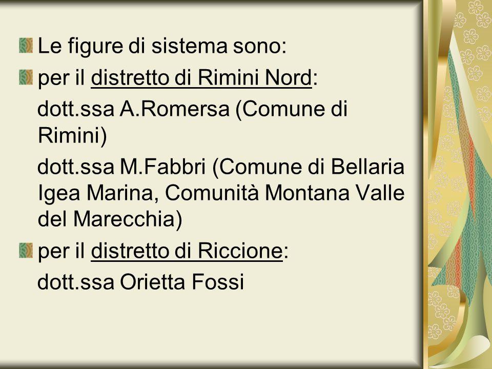 Le figure di sistema sono: per il distretto di Rimini Nord: dott.ssa A.Romersa (Comune di Rimini) dott.ssa M.Fabbri (Comune di Bellaria Igea Marina, C