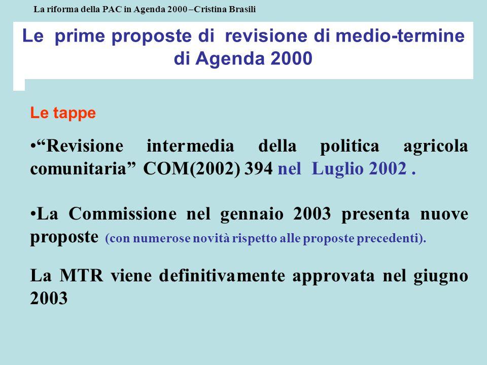 Le prime proposte di revisione di medio-termine di Agenda 2000 Le tappe Revisione intermedia della politica agricola comunitaria COM(2002) 394 nel Luglio 2002.