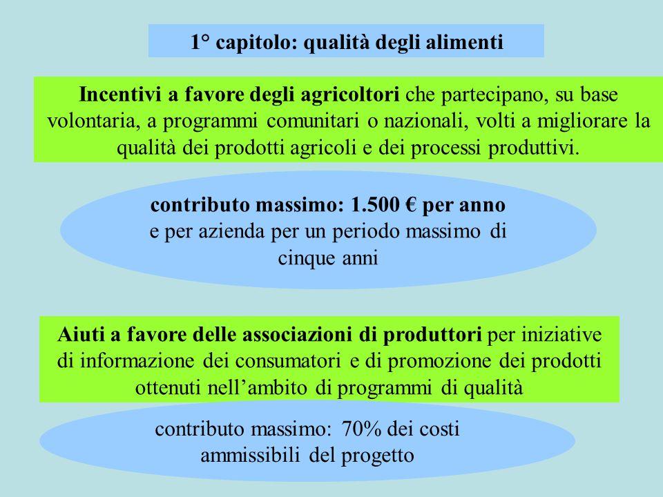 Incentivi a favore degli agricoltori che partecipano, su base volontaria, a programmi comunitari o nazionali, volti a migliorare la qualità dei prodotti agricoli e dei processi produttivi.