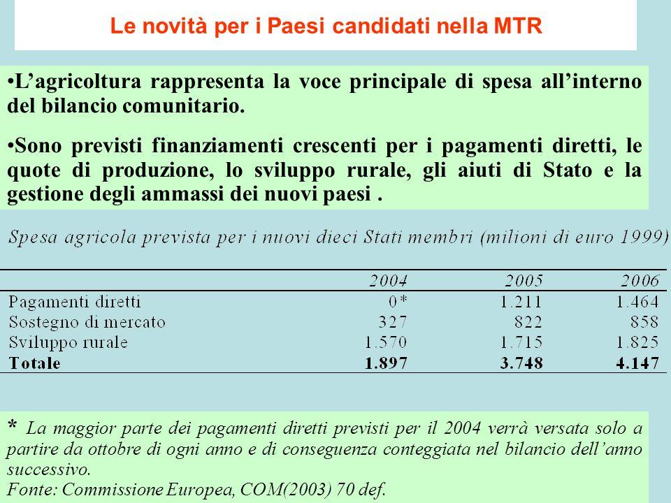 Le novità per i Paesi candidati nella MTR L'agricoltura rappresenta la voce principale di spesa all'interno del bilancio comunitario.