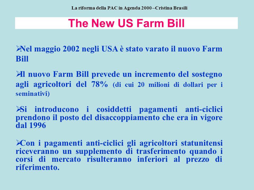 The New US Farm Bill  Nel maggio 2002 negli USA è stato varato il nuovo Farm Bill  Il nuovo Farm Bill prevede un incremento del sostegno agli agricoltori del 78% (di cui 20 milioni di dollari per i seminativi)  Si introducono i cosiddetti pagamenti anti-ciclici prendono il posto del disaccoppiamento che era in vigore dal 1996  Con i pagamenti anti-ciclici gli agricoltori statunitensi riceveranno un supplemento di trasferimento quando i corsi di mercato risulteranno inferiori al prezzo di riferimento.