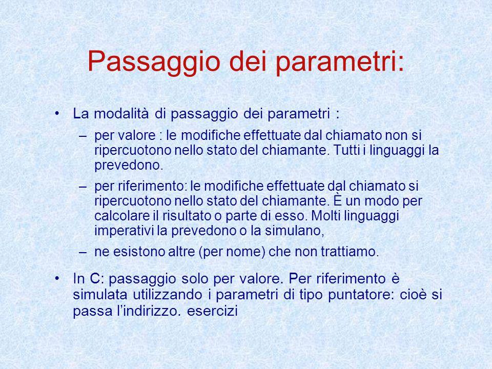 Passaggio dei parametri: La modalità di passaggio dei parametri : – –per valore : le modifiche effettuate dal chiamato non si ripercuotono nello stato del chiamante.