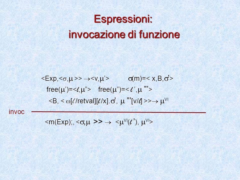 >   (m)= free(  ')= free(  )= free(  ')= free(  )= >   >   VI >  Espressioni: invocazione di funzione invoc