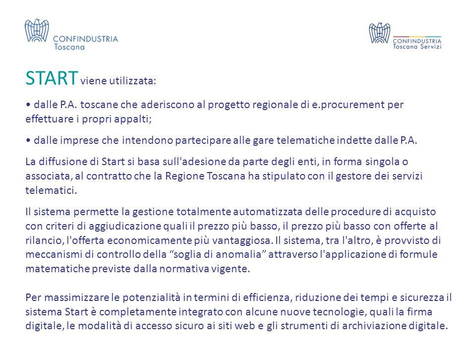 START viene utilizzata: dalle P.A. toscane che aderiscono al progetto regionale di e.procurement per effettuare i propri appalti; dalle imprese che in