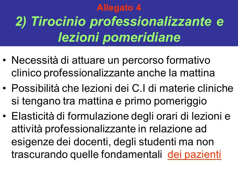 Allegato 4 2) Tirocinio professionalizzante e lezioni pomeridiane Necessità di attuare un percorso formativo clinico professionalizzante anche la matt