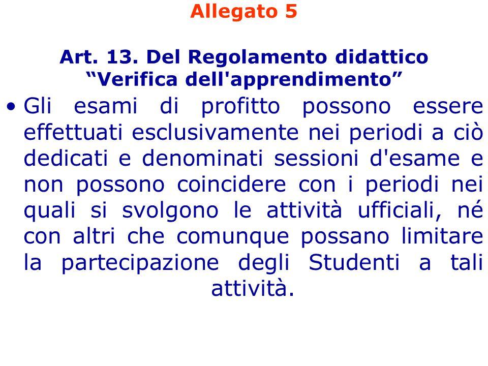 """Allegato 5 Art. 13. Del Regolamento didattico """"Verifica dell'apprendimento"""" Gli esami di profitto possono essere effettuati esclusivamente nei periodi"""