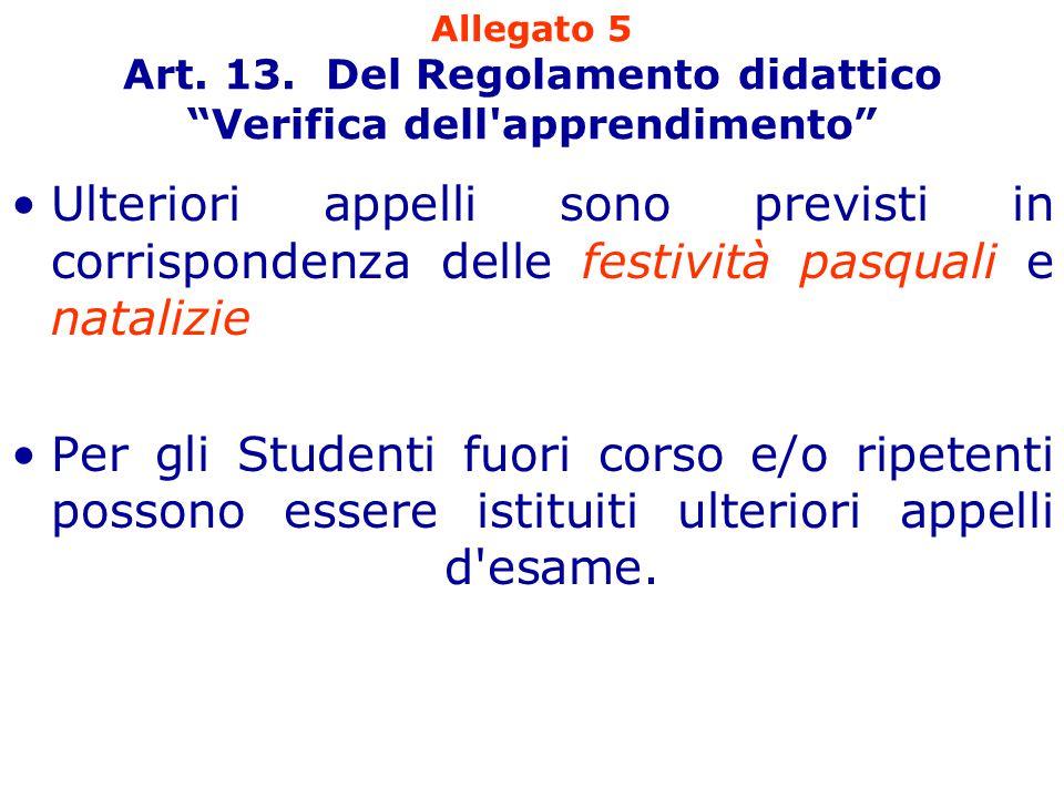 """Allegato 5 Art. 13. Del Regolamento didattico """"Verifica dell'apprendimento"""" Ulteriori appelli sono previsti in corrispondenza delle festività pasquali"""