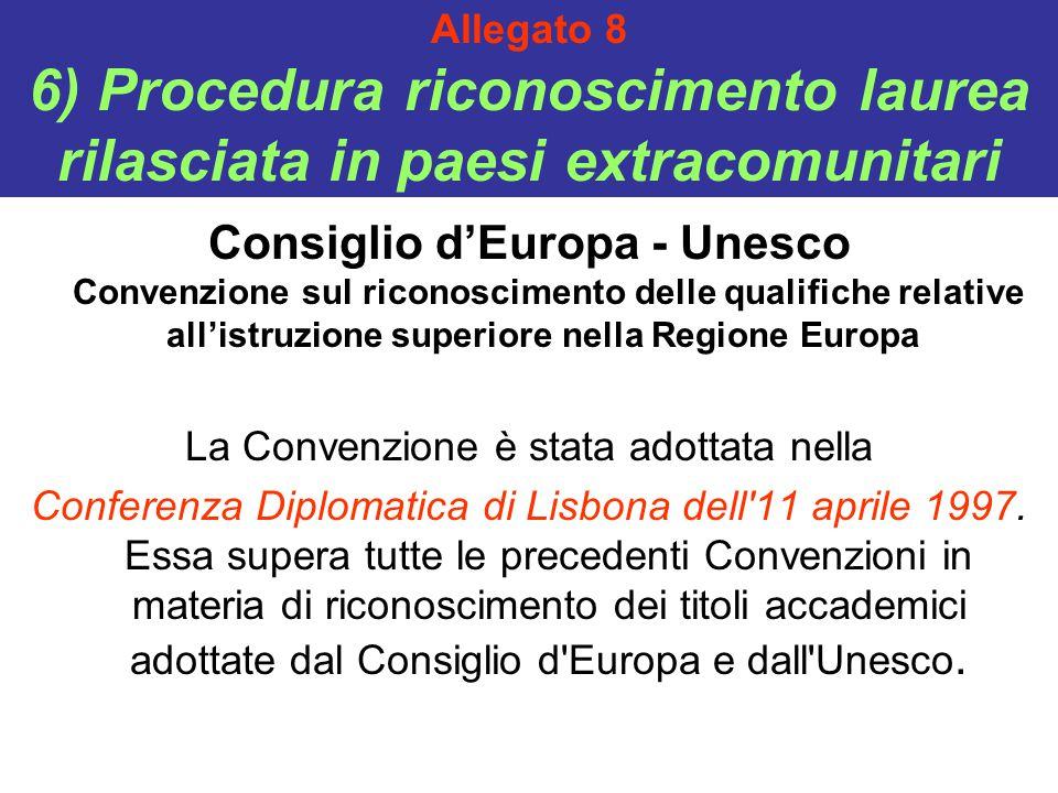 Allegato 8 6) Procedura riconoscimento laurea rilasciata in paesi extracomunitari Consiglio d'Europa - Unesco Convenzione sul riconoscimento delle qualifiche relative all'istruzione superiore nella Regione Europa La Convenzione è stata adottata nella Conferenza Diplomatica di Lisbona dell 11 aprile 1997.