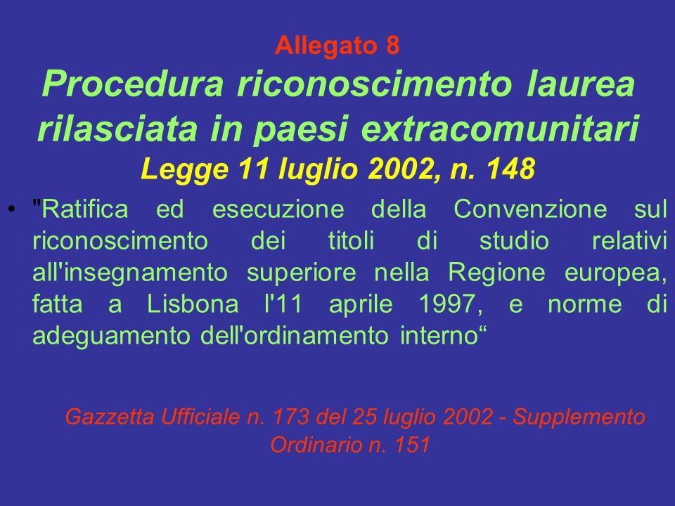 Allegato 8 Procedura riconoscimento laurea rilasciata in paesi extracomunitari Legge 11 luglio 2002, n.