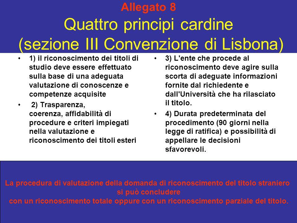 Allegato 8 Quattro principi cardine (sezione III Convenzione di Lisbona) 1) il riconoscimento dei titoli di studio deve essere effettuato sulla base d