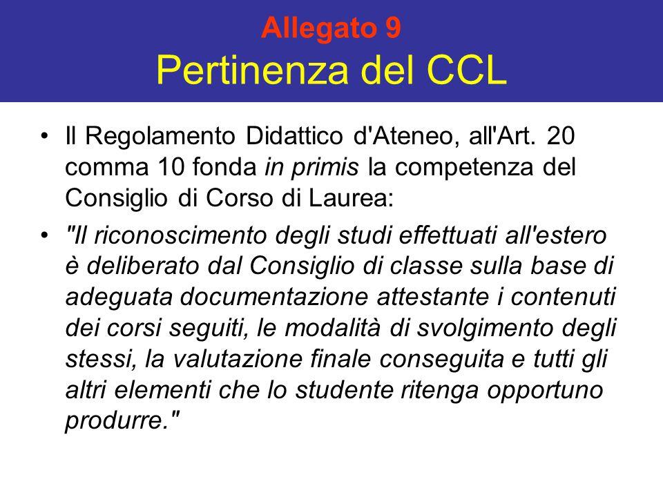 Allegato 9 Pertinenza del CCL Il Regolamento Didattico d'Ateneo, all'Art. 20 comma 10 fonda in primis la competenza del Consiglio di Corso di Laurea: