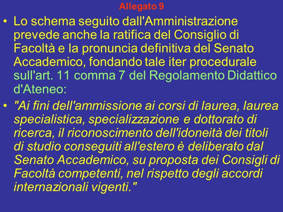 Allegato 9 Lo schema seguito dall Amministrazione prevede anche la ratifica del Consiglio di Facoltà e la pronuncia definitiva del Senato Accademico, fondando tale iter procedurale sull art.