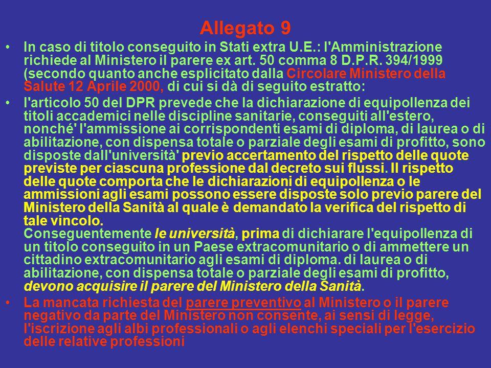 Allegato 9 In caso di titolo conseguito in Stati extra U.E.: l'Amministrazione richiede al Ministero il parere ex art. 50 comma 8 D.P.R. 394/1999 (sec