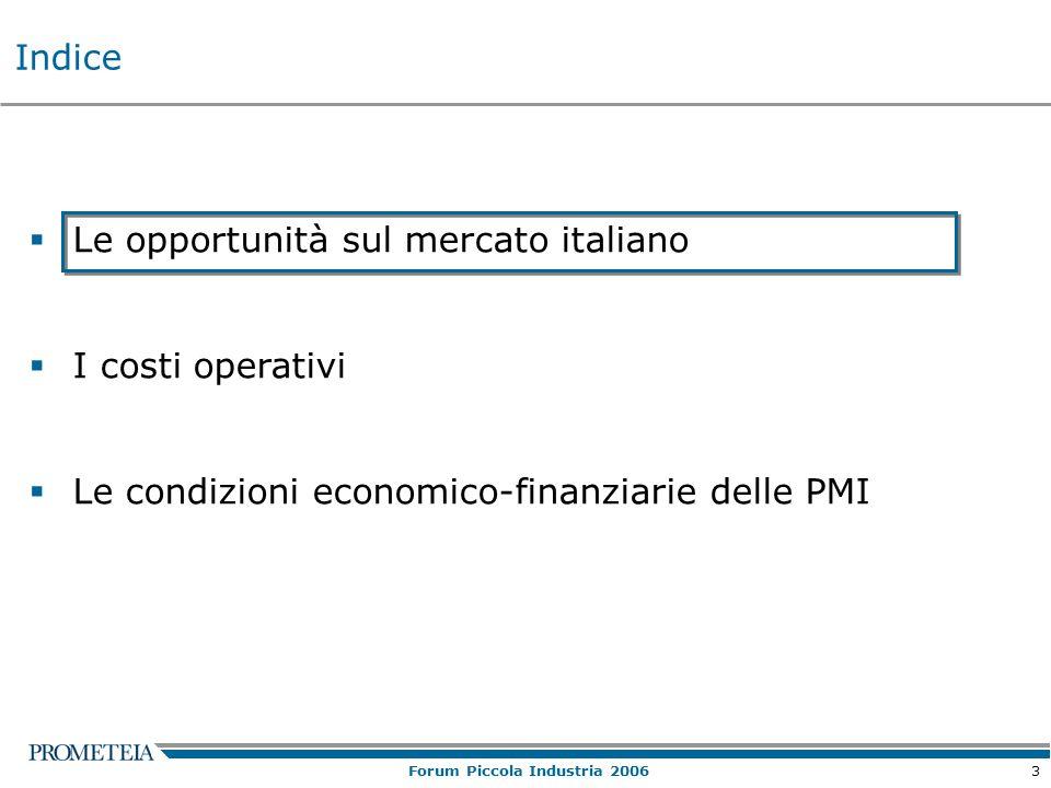 3 Forum Piccola Industria 2006  Le opportunità sul mercato italiano  I costi operativi  Le condizioni economico-finanziarie delle PMI Indice