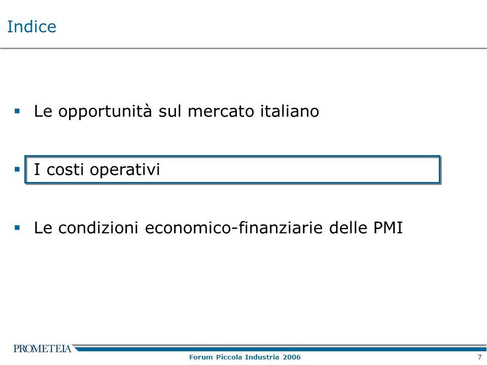 7 Forum Piccola Industria 2006  Le opportunità sul mercato italiano  I costi operativi  Le condizioni economico-finanziarie delle PMI Indice
