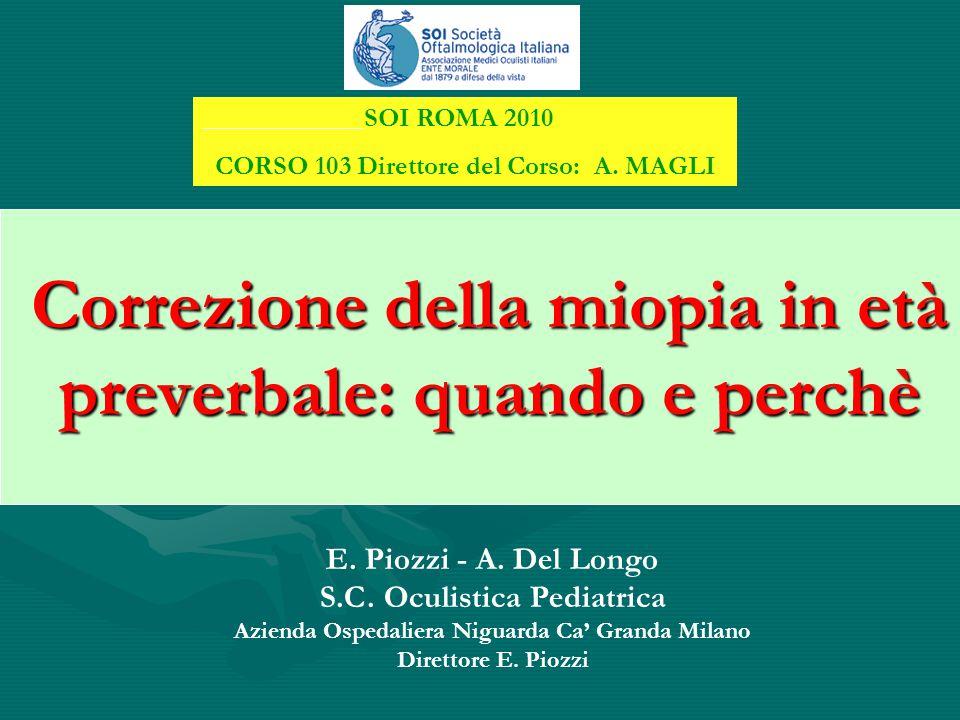 Correzione della miopia in età preverbale: quando e perchè E. Piozzi - A. Del Longo S.C. Oculistica Pediatrica Azienda Ospedaliera Niguarda Ca' Granda