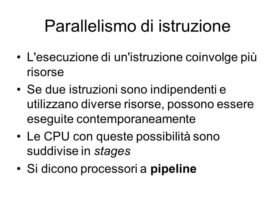 Parallelismo di istruzione L esecuzione di un istruzione coinvolge più risorse Se due istruzioni sono indipendenti e utilizzano diverse risorse, possono essere eseguite contemporaneamente Le CPU con queste possibilità sono suddivise in stages Si dicono processori a pipeline