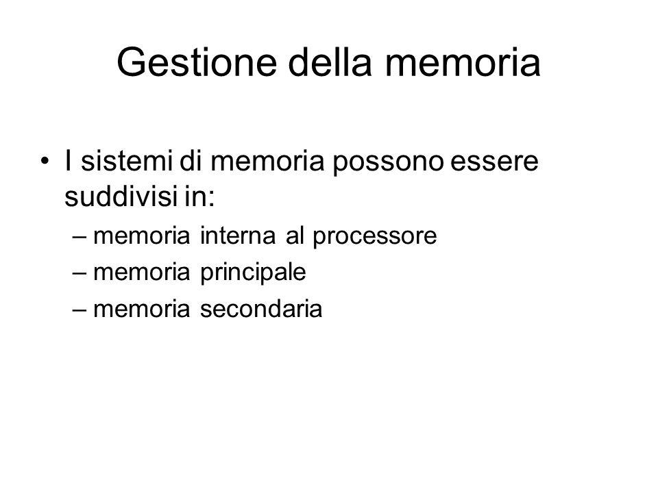 Gestione della memoria I sistemi di memoria possono essere suddivisi in: –memoria interna al processore –memoria principale –memoria secondaria