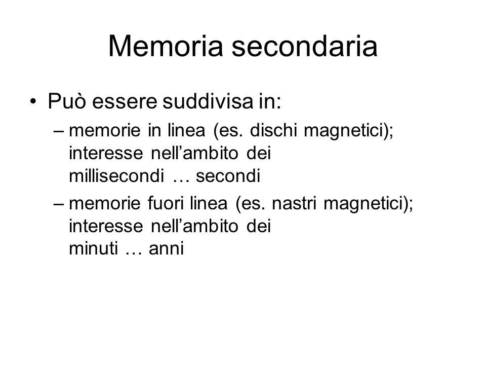 Memoria secondaria Può essere suddivisa in: –memorie in linea (es.