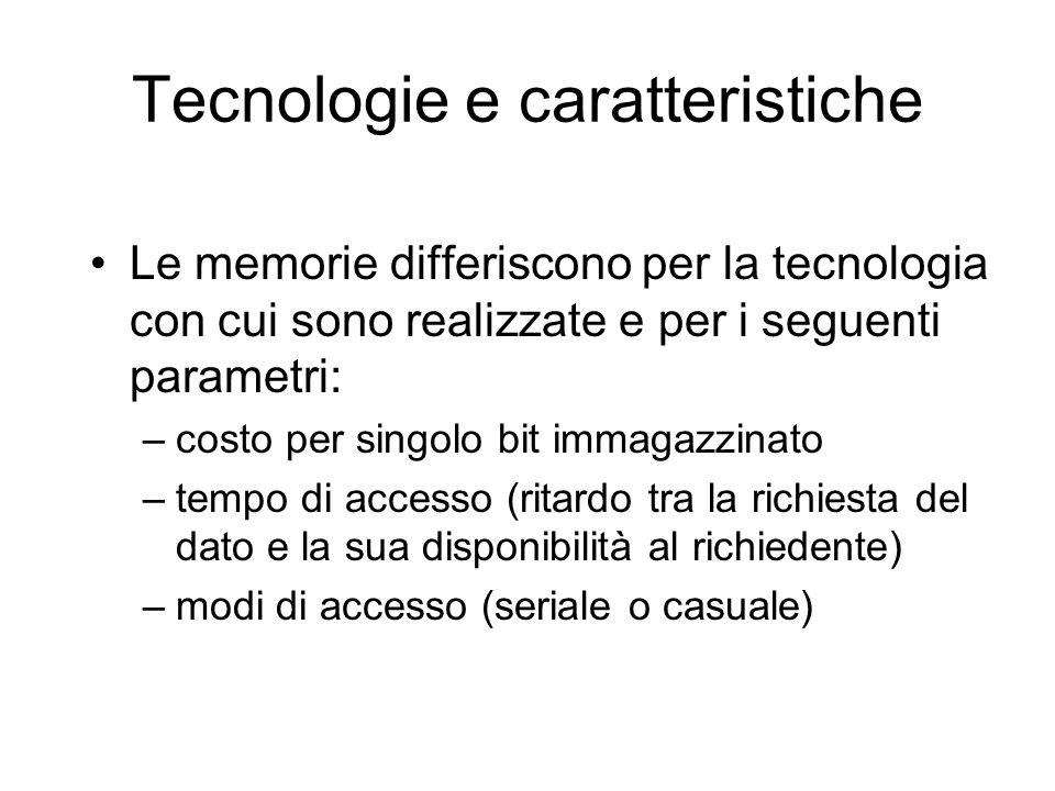 Tecnologie e caratteristiche Le memorie differiscono per la tecnologia con cui sono realizzate e per i seguenti parametri: –costo per singolo bit immagazzinato –tempo di accesso (ritardo tra la richiesta del dato e la sua disponibilità al richiedente) –modi di accesso (seriale o casuale)