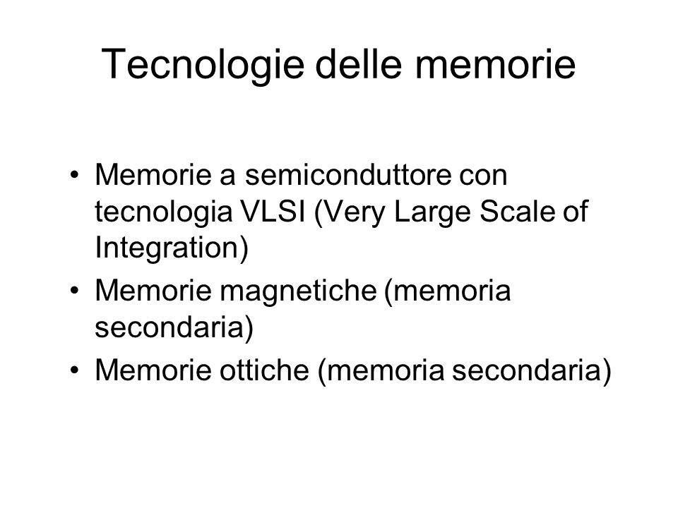 Tecnologie delle memorie Memorie a semiconduttore con tecnologia VLSI (Very Large Scale of Integration) Memorie magnetiche (memoria secondaria) Memorie ottiche (memoria secondaria)