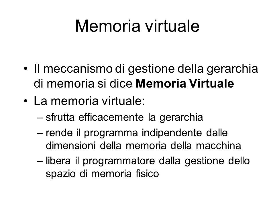 Memoria virtuale Il meccanismo di gestione della gerarchia di memoria si dice Memoria Virtuale La memoria virtuale: –sfrutta efficacemente la gerarchia –rende il programma indipendente dalle dimensioni della memoria della macchina –libera il programmatore dalla gestione dello spazio di memoria fisico