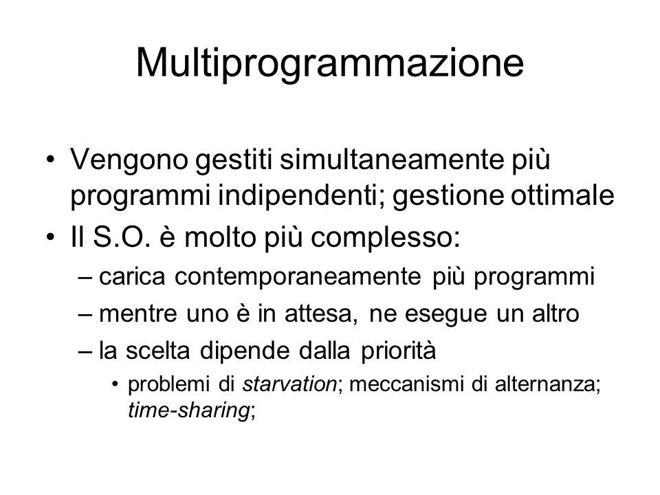 Multiprogrammazione Vengono gestiti simultaneamente più programmi indipendenti; gestione ottimale Il S.O.